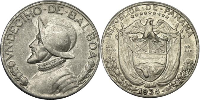 Elf Panama 1 10 Balboa 1934 Silver Ebay